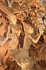 wooden carving and decorating, Buddha Park, Korat