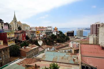 Valparaiso top city view panorama, Chile