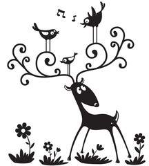 Silhouette of a deer with a bird on the horns