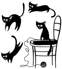 Collection of silhouettes of cats