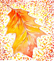 Background with yellow autumns leaf watercolor painted.