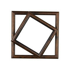 Wooden photo frame, isolated, high resolution