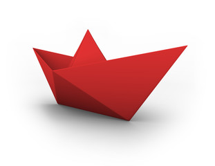 VECTOR red origami paper boat