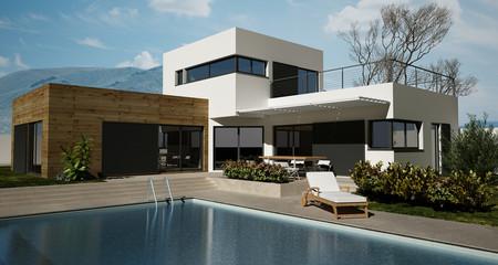 Maison en bois avec piscine Fotobehang