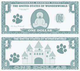 Childrens game money - one dollar bill
