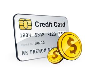 Carte bancaire et pièces dollar