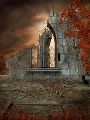 Fototapeta Gotyckie ruiny z martwym bluszczem obraz