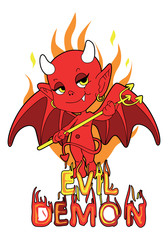 Red evil demon boy with trident