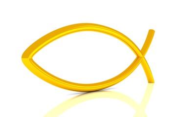 3D ICHTHYS Gold - Abstrakt Fisch Symbol