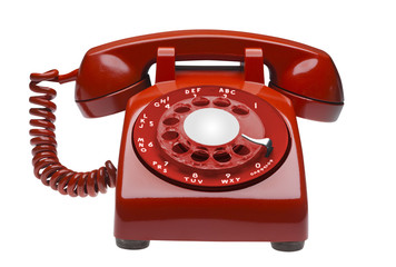 Red angled 60s rotary dial phone isolated with clipping path