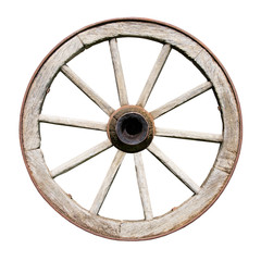 Old Traditional Wooden Wheel Isolated on White