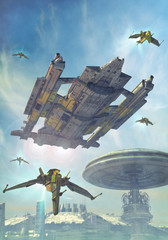 Wall Mural - spaceship and futuristic city