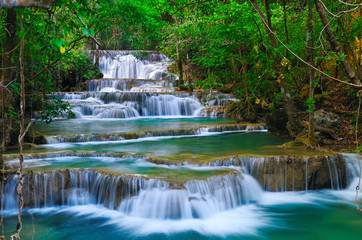 Photo sur Aluminium Cascade Deep forest Waterfall in Kanchanaburi, Thailand