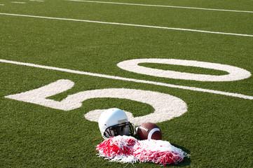 Wall Mural - American Football, Helmet and Pom Poms on Field