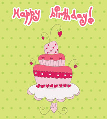Pink cake on green dotted background. Vector