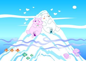 Coppia di orsi polari su iceberg