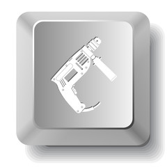 Electric drill. Vector computer key.