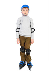 little boy with opened mouth in blue helmet rollerblading