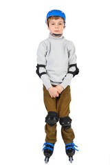 little boy with with crossed hands in blue helmet rollerblading