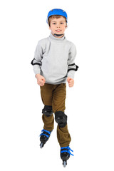 little boy in blue helmet smiling and rollerblading isolated