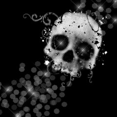 Glamour background with skull on a black
