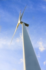 wind turbine generating electricity on blue sky