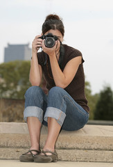 brunette woman photographer