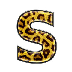 3d letter with panther skin texture - S