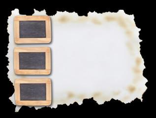 Blackboard frame on a black background