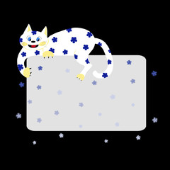 White cat (symbol of 2011) with greeting card and snow