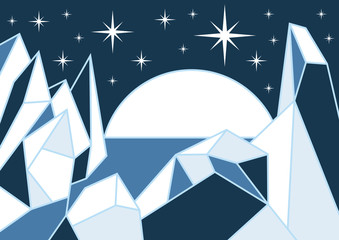 Vector Illustration of iceberg in the ocean and moon