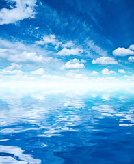 blue sky and water