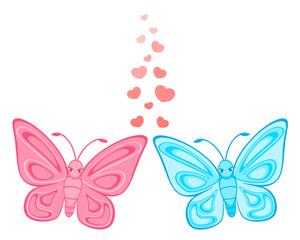 Vector funny cartoon tropical butterfly.