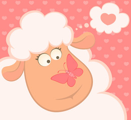 cartoon smiling sheep with butterfly