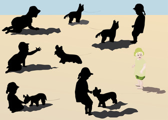 little girls and dogs illustration