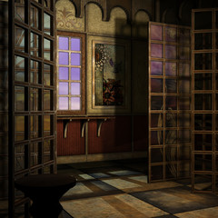 magic window in a fantasy setting. 3D rendering of a fantasy the