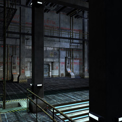 dark and scary place in a scifi setting. 3D rendering with clipp