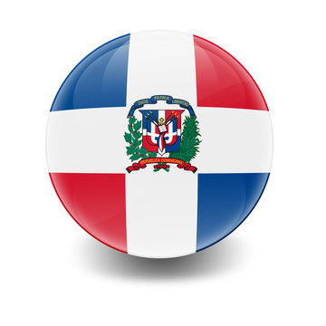Esfera brillante con bandera Republica Dominicana
