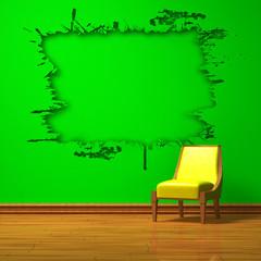 Yellow chair with splash hole in green minimalist interior