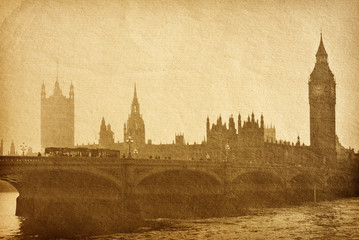 vintage paper textures. Buildings of Parliament  in London UK .