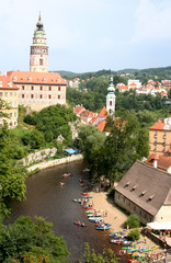 Boats on the river in Czech Krumlov
