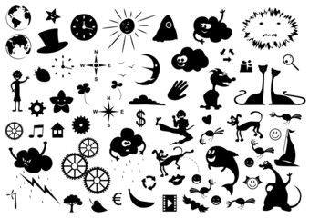 Vector set of cartoon silhouettes