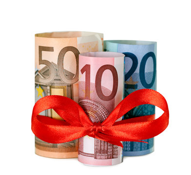 80 euro with red ribbon