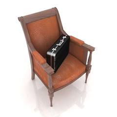 briefcases lies in the expensive chair