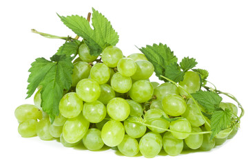 green grape with leaf