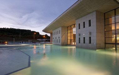 Modern spa exterior in sunset