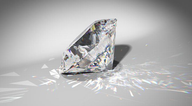 One large diamond with sparkles