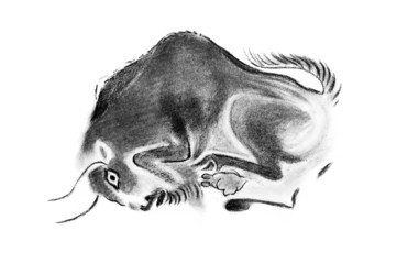 Image of the bull in prehistoric style
