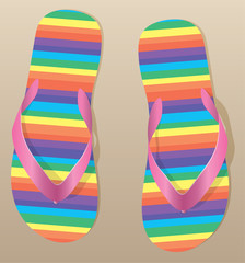 vector pair of flip flops on the sand