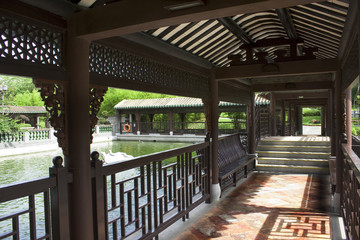 Traditional Chinese architecture, long corridor in outdoor park